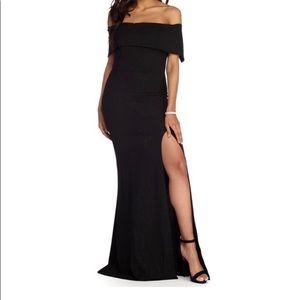 Formal high slit glitter dress